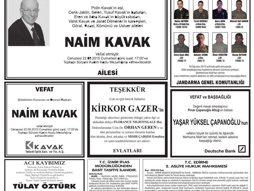 Naim kavak ölüm ilanı istanbul hürriyet vefat ilanbürosu